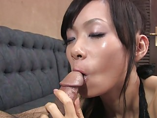 Cocksucking slut licks every drop of cumload after BJ